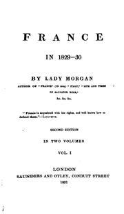 Cover of: France in 1829-30 by Morgan (Sydney)