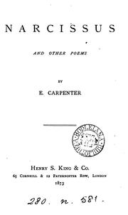 Cover of: Narcissus, and other poems by Edward Carpenter