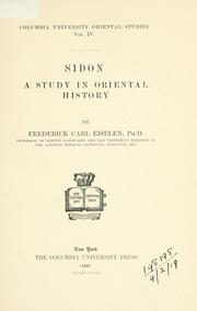 Cover of: Sidon | Frederick Carl Eiselen