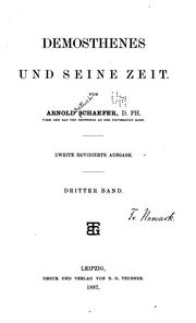 Cover of: Demosthenes und seine Zeit by Arnold Dietrich Schaefer