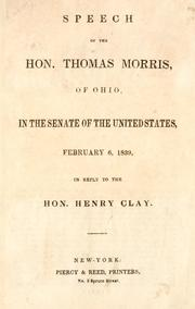 Cover of: Speech of the Hon. Thomas Morris, of Ohio by Morris, Thomas