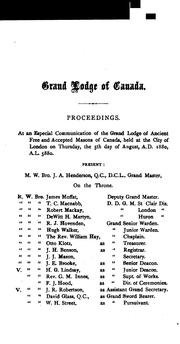 Cover of: Proceedings of the Grand Lodge of Ancient, Free, & Accepted Masons of Canada by Freemasons. Grand Lodge (Canada)