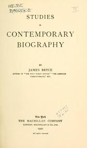 Cover of: Studies in contemporary biography | James Bryce