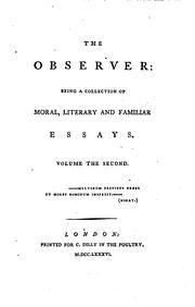 Cover of: The Observer:: Being a Collection of Moral, Literary and Familiar Essays by Richard Cumberland