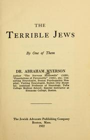 Cover of: The terrible Jews | Abraham Myerson
