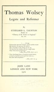Cover of: Thomas Wolsey by Taunton, Ethelred L.