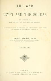 Cover of: The war in Egypt and the Soudan by Thomas Archer