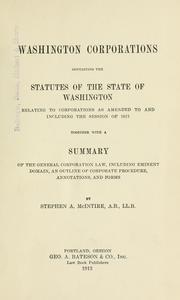Cover of: Washington corporations | Stephen A. McIntire