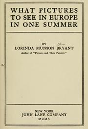 Cover of: What pictures to see in Europe in one summer by Lorinda Munson Bryant