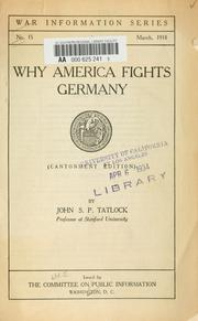 Cover of: Why America fights Germany | John Strong Perry Tatlock