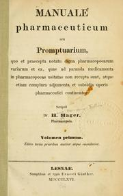 Cover of: Manuale pharmaceuticum seu promptuarium | Hager, Hermann