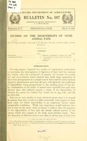 Cover of: Studies on the digestibility of some animal fats | Charles Ford Langworthy