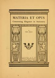 Cover of: Materia et opus | Theodore Tracy