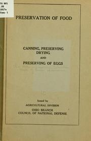 Cover of: Preservation of food | Ohio. State university, Columbus. Dept. of home economics