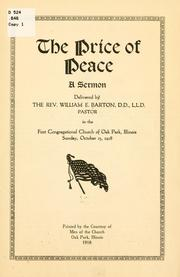 Cover of: The price of peace by William Eleazar Barton