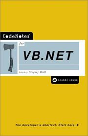 Cover of: CodeNotes for VB.NET (Codenotes Series) by Gregory Brill