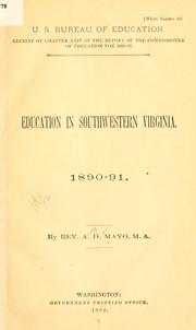 Cover of: Education in southwestern Virginia | Amory Dwight Mayo