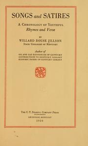 Cover of: Songs and satires | Willard Rouse Jillson