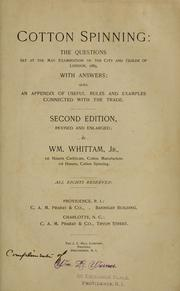 Cover of: Cotton spinning | Whittam, William Jr.