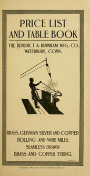 Cover of: Price list and table book | Benedict & Burnham mfg. co., Waterbury, Conn