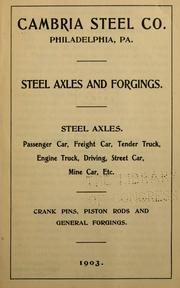 Cover of: Steel axles and forgings | Cambria steel company