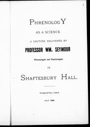 Cover of: Phrenology as a science by William Seymour