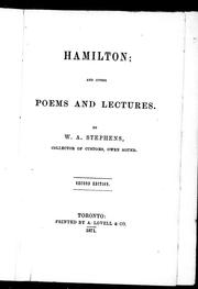 Cover of: Hamilton and other poems and lectures | Stephens, W. A.