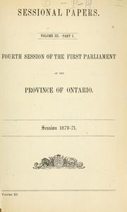 Cover of: Ontario Sessional Papers by Ontario Legislative Assembly
