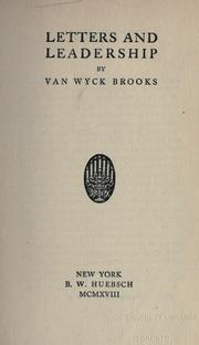 Cover of: Letters and leadership. -- | Van Wyck Brooks
