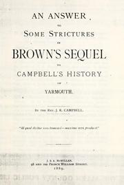 Cover of: An answer to some strictures in Brown's Sequel to Campbell's History of Yarmouth | Campbell, J. R.