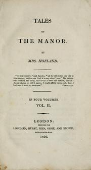 Cover of: Tales of the manor | Barbara Wreaks Hoole Hofland