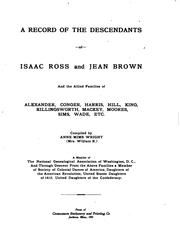 Cover of: A  record of the descendants of Isaac Ross and Jean Brown | Annie Julia Mims Wright