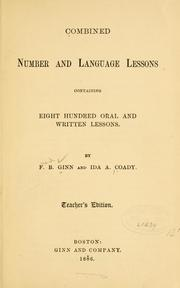 Cover of: Combined number and language lessons | Fred B. Ginn