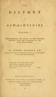Cover of: The history of New-Hampshire | Jeremy Belknap