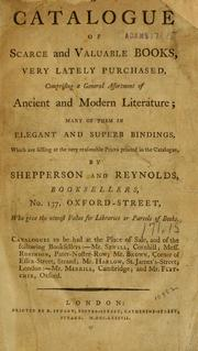 Cover of: A catalogue of scarce and valuable books | Shepperson and Reynolds.