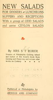 Cover of: New salads for dinners, luncheons, suppers and receptions | Rorer, Sarah Tyson (Heston) Mrs.