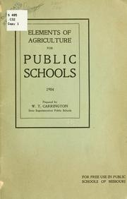 Cover of: Elements of agriculture for public schools. 1904 | Missouri. Dept. of education