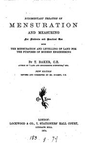 Cover of: Rudimentary treatise on mensuration and measuring by Thomas Baker