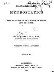 Cover of: Elementary Hydrostatics by William Henry Besant
