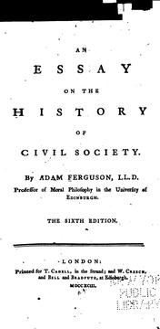 Cover of: An Essay on the History of Civil Society by Adam Ferguson