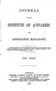 Cover of: Journal of the Institute of Actuaries and Assurance Magazine by Institute of Actuaries (Great Britain )