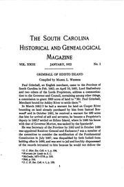The South Carolina Historical and Genealogical Magazine