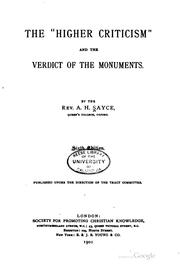 "Cover of: The ""higher Criticism"" and the Verdict of the Monuments by Archibald Henry Sayce"