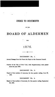 Cover of: Document by New York (N.Y .). Board of Aldermen