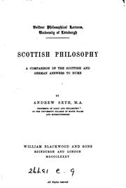 Cover of: Scottish Philosophy: A Comparison of the Scottish and German Answers to Hume by Andrew Seth Pringle -Pattison