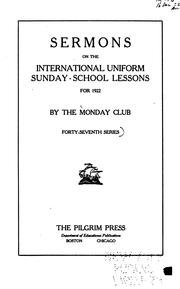 Cover of: Sermons on the International Sunday-school Lessons | Monday Club
