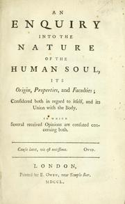 Cover of: An enquiry into the nature of the human soul by Andrew Baxter