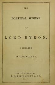 Cover of: The poetical works of Lord Byron by Lord George Gordon Byron