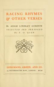 Cover of: Racing rhymes & other verses | Adam Lindsay Gordon