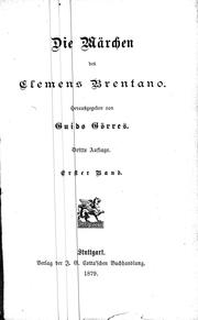 Cover of: Die Märchen des Clemens Brentano by Clemens Brentano